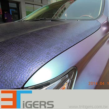 Cast purple leather texture car wrap film with bubble free liner