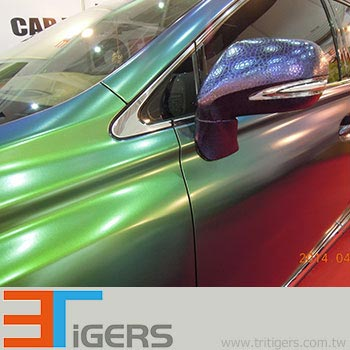 Cast green and purple chameleon car wrap film with bubble free liner